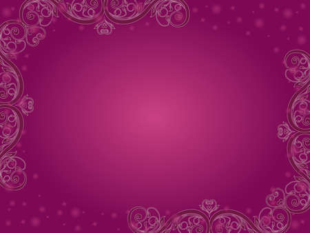 Greeting card with elements of plants and a gradient in dark magenta and pink hues Vettoriali
