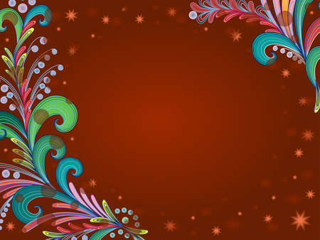Multicolor decorative flowers on brown background in circle and stars, beautiful greeting card