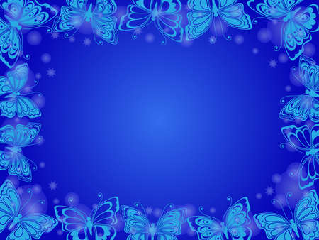 Beautiful romantic greeting card with many butterflies, stars and circle on blue background