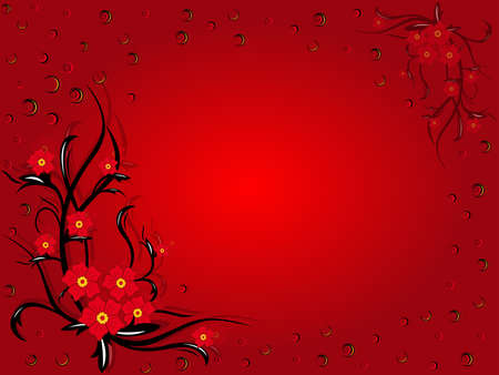 Decorative flowers on red background, beautiful romantic greeting card
