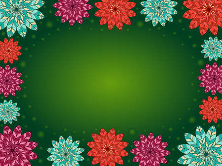 Multicolor decorative flowers on green background with circle, beautiful greeting card Vettoriali