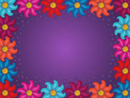 Colorful beautiful flowers on violet background with gradient, beautiful greeting card