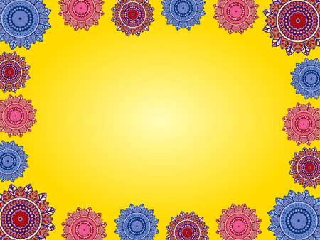 Greeting card with ornamental flowers on yellow background with gradient