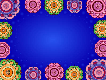 Colorful greeting card with ornamental flowers and circles on blue background
