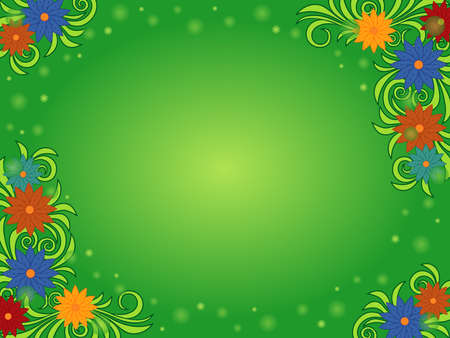 Greeting card with colorful flowers, circle and stars on green background with gradient Vettoriali