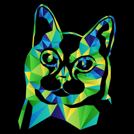 Mosaic of serious cat in green, blue and yellow hues isolated on the black background, decoration on glass