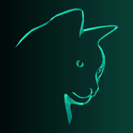 Mosaic of serious cat in turquoise hues isolated on the dark background with gradient, decoration on glass Vettoriali