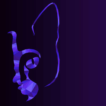 Mosaic of cat muzzle in violet hues isolated on the dark background with gradient, decoration on glass