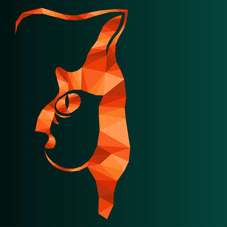 Mosaic of serious cat in orange hues isolated on the dark turquoise background with gradient, decoration on glass