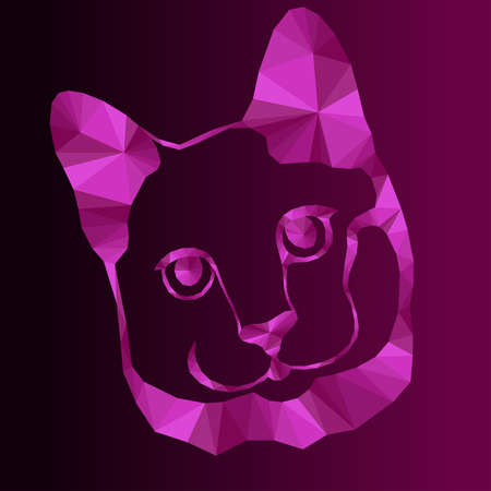 Mosaic of cat muzzle in magenta and pink hues isolated on the dark background with gradient, decoration on glass Vettoriali