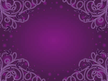 Greeting card with elements of plants, circle and a gradient in purple hues