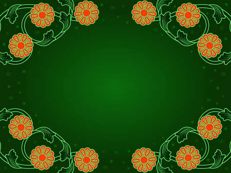 Beautiful greeting card with floral elements and circles in green and range hues Vettoriali