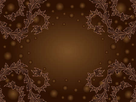 Romantic postcard with floral elements and circles in brown and beige colors Vettoriali