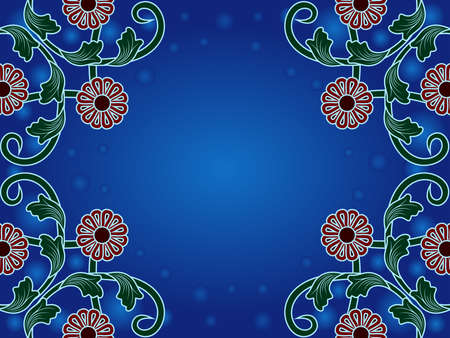 Romantic greeting card with colorful ornamental flowers on blue background