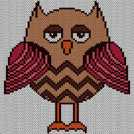 Knitting of cartoon amusing owl in pink and brown hues on the white background, illustration for textile production