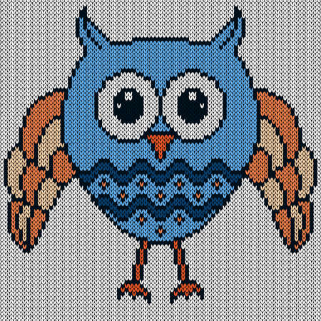Knitting of big funny owl in blue and orange colors with big eyes on the blue background, illustration for textile production Vettoriali