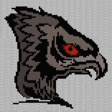 Knitting of big eagle's head in grey hues on white background, illustration for textile production