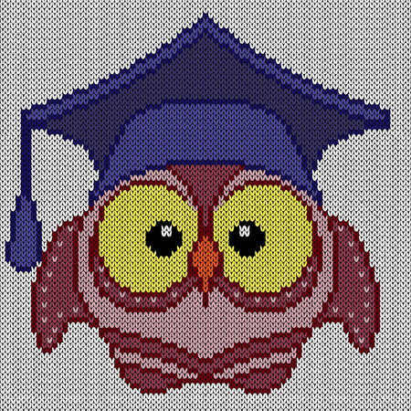 Knitting of cartoon amusing clever owl in blue on the white background, illustration for textile production