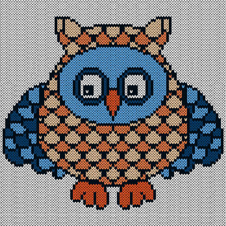Knitting of cartoon funny owl with big eyes in blue and orange hues on the white background, illustration for textile production
