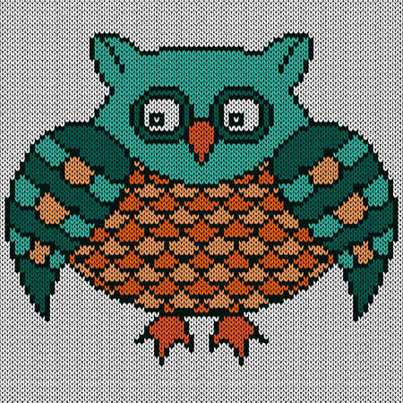 Knitting of cartoon amusing owl in turquoise and orange hues, illustration for textile production