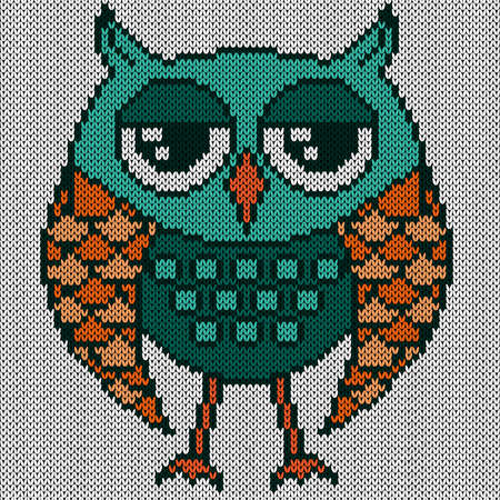 Knitting of cartoon funny owl with big eyes in turquoise and orange hues on the white background, illustration for textile production Vettoriali