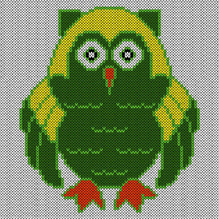 Knitting of cartoon amusing clever owl in green and yellow colors on the white background, illustration for textile production Vettoriali