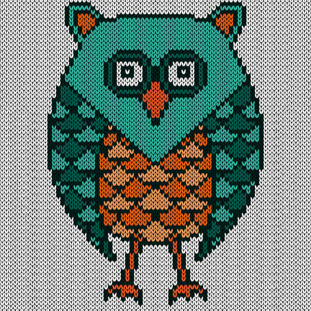 Knitting of cartoon amusing serious owl in turquoise and orange colors on the white background, illustration for textile production Vettoriali