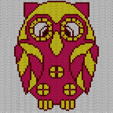 Knitting of big cartoon owl in yellow and pink hues on the white background, illustration for textile production