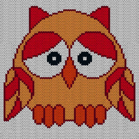 Knitting of funny owl in red and orange colors with big eyes on the blue background, illustration for textile production Vettoriali