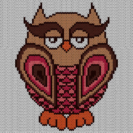 Knitting of big serious cartoon owl in brown and pink hues on the white background, illustration for textile production Vettoriali