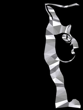 Mosaic of serious cat muzzle in monochrome colors isolated on the black background, decoration on glass Vettoriali