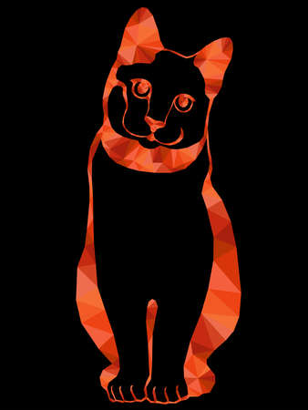 Colorful mosaic of a silhouette graceful cat's body in orange hues isolated on the black background, decoration on glass for children Vettoriali