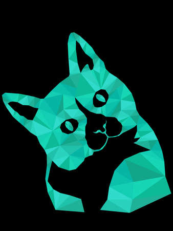 Mosaic of cartoon serious and interested cat muzzle in turquoise hues isolated on the black background, decoration on glass Vettoriali