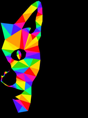 Mosaic of serious cat muzzle in bright colors isolated on the black background, decoration on glass Vettoriali