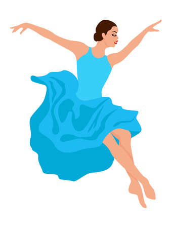 Beautiful woman dancer in soft blue dress in jump, hand drawing vector, isolated on the white background