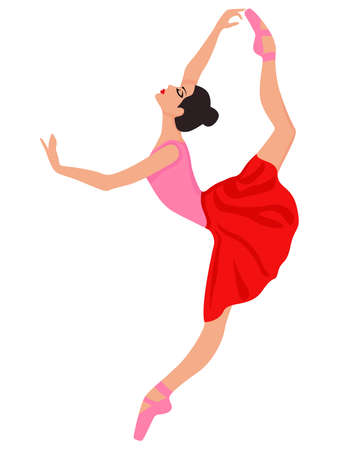 Beautiful ballerina in red and pink dress and pointe shoe, hand drawing vector, isolated on the white background Vettoriali