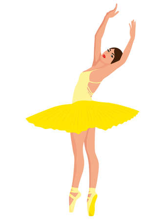 Beautiful ballerina in yellow tutu dress in pointe shoe, hand drawing vector, isolated on the white background