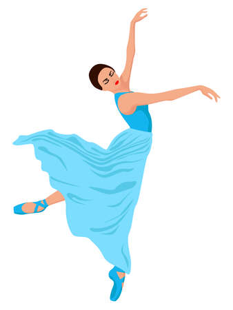 Elegant ballerina in a pale blue dress, hand drawing vector, isolated on the white background