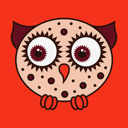 Illustration of a funny cartoon oval owl on a bright orange background, made as an oil painting