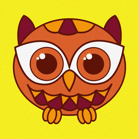 Illustration of a funny oval owl on a bright yellow background, made as an oil painting