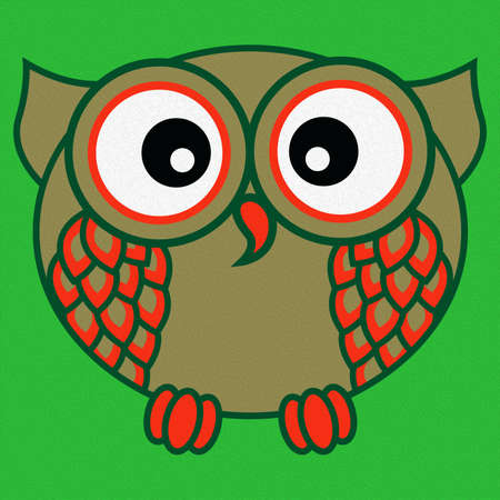 Illustration of a funny cartoon oval owl on a bright green background, made as an oil painting