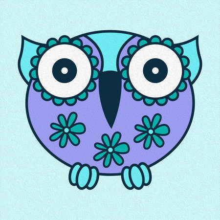 Illustration of amusing cartoon oval owl on a pale blue background, made as an oil painting