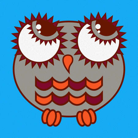 Illustration of a funny cartoon oval owl with big eyes made with the effect of oil paint