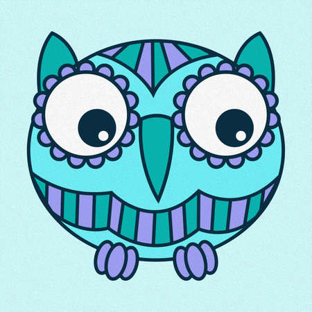 Illustration of amusing cartoon oval owl in blue and turquoise hues made with the effect of oil paint