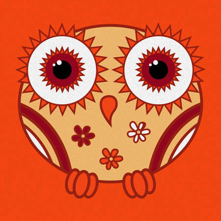 Illustration of a funny cartoon oval owl in orange hues made with the effect of oil paint