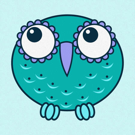 Illustration of amusing cartoon owl in oval shape with big eyes made with the effect of oil paint Standard-Bild