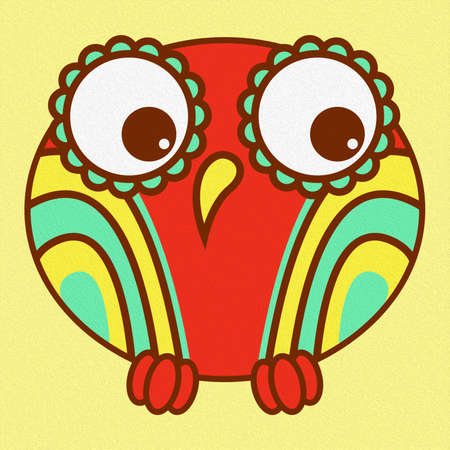 Illustration of a funny cartoon owl on a pale yellow background, made as an oil painting Standard-Bild