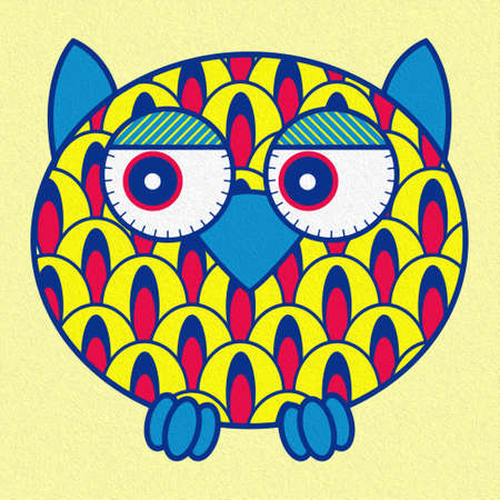 Illustration of a funny cartoon oval owl on a pale yellow background, made as an oil painting