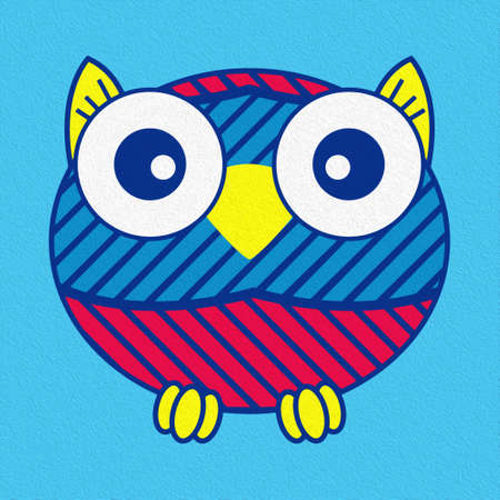 Illustration of a funny oval owl on blue background, made as an oil painting Standard-Bild