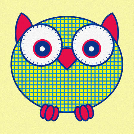 Illustration of amusing cartoon owl in oval shape on yellow background, made as an oil painting